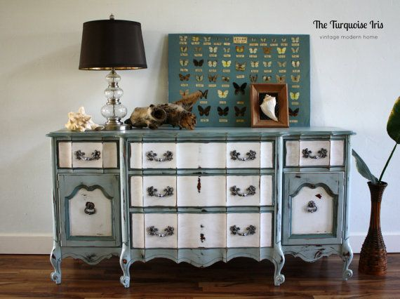 French Provincial Dresser in Moody Blues