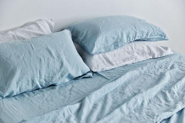 100% Linen Fitted Sheet in Light Blue