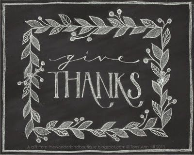 Free Thanksgiving chalkboard art printable from The Wonderland Boutique
