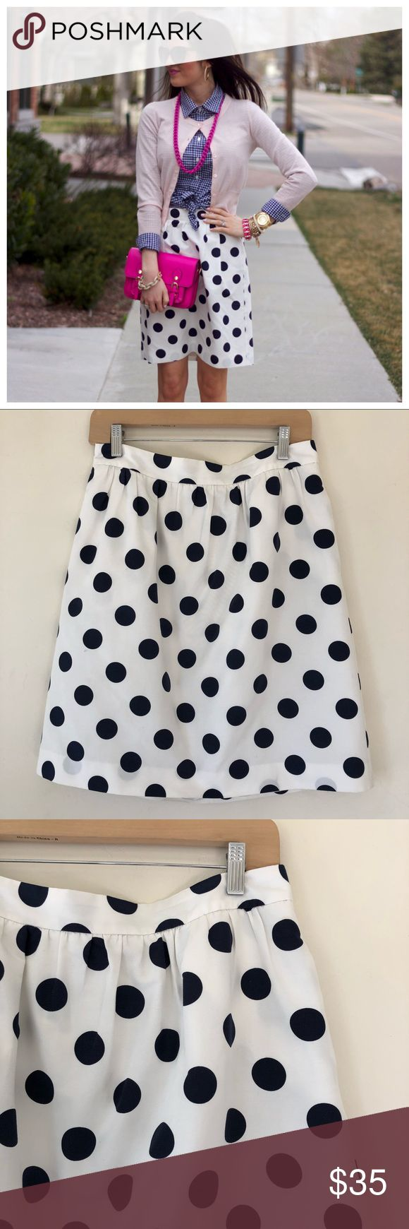 "J. Crew Polka Dot Skirt Super cute polka dot skirt by J. Crew. Features large navy polka dots with gathered waist design. Fully lined. Pockets are still sewed shut, but can be opened. Material: 70% cotton/ 30% silk. Length: 21"" waist to hem. Dry cleaned and ready to wear. No flaws and in great condition. J. Crew Skirts A-Line or Full"