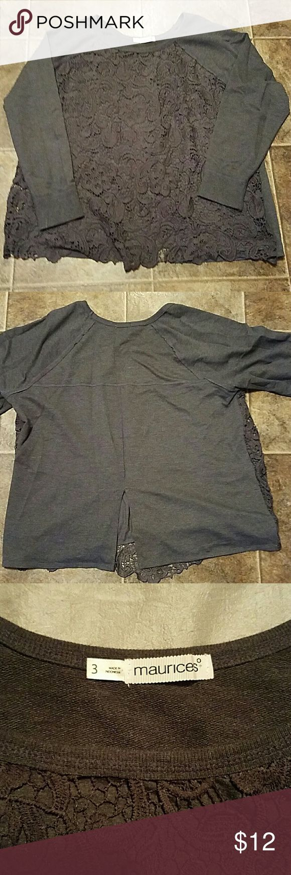 MAURICES (3) Charcoal Gray Lace Front Sweatshirt Very Stylish Charcoal Gray Lace Front Sweatshirt... not see through and slit in back. Maurices  Tops