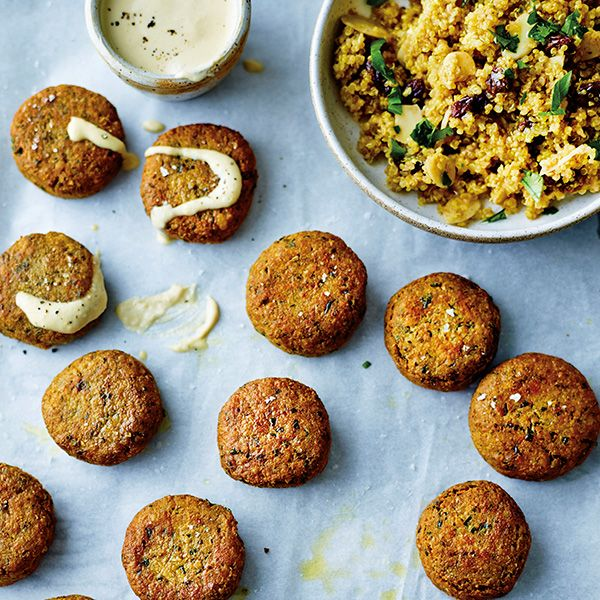 These are a healthier version of the usual deep-fried falafel. The problem with deep-frying is that oils kept at high temperatures for a long time will develop what are known as trans fats, which are toxic and much worse for you than any fat on its own could be.Serves4