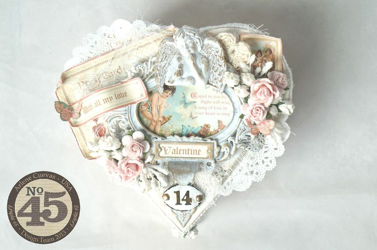 Altered Valentine's Day gift box featuring Graphic 45's Sweet Sentiments collection. Love, love, love these papers! xoxo