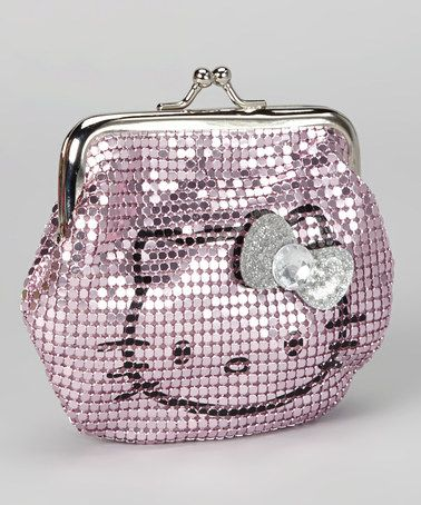 Pink Metal Mesh Hello Kitty Kiss Lock Coin Purse by Hello Kitty on #zulily