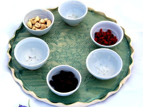Appetizers plates. Round tray  with 6 dip bowls  by PotterPainter