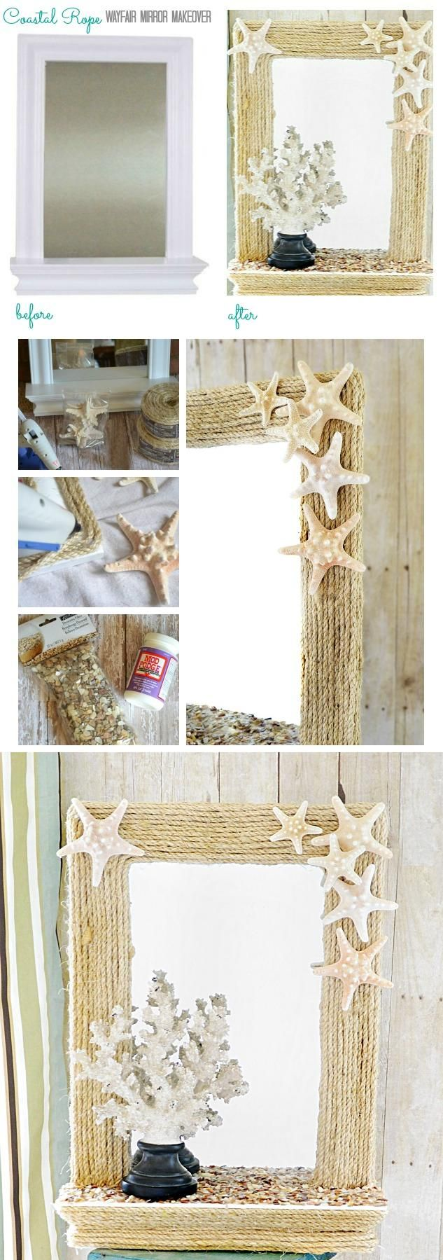 Be Creative: DIY Home Decor Ideas DIY Coastal Rope Mirror Makeover