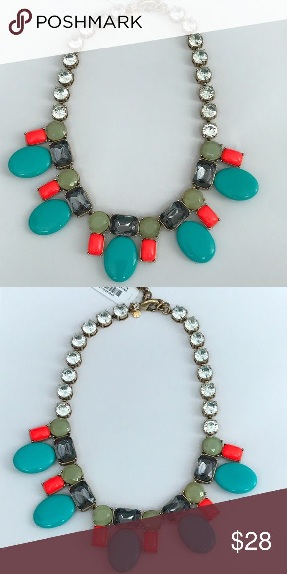 J Crew Candy Coated Crystal Statement Necklace NWT J Crew Factory Crystal Statement Necklace. Neon Green and Orange. Perfect colors for that bright summer outfit to definitely make a splash in! J. Crew Jewelry Necklaces