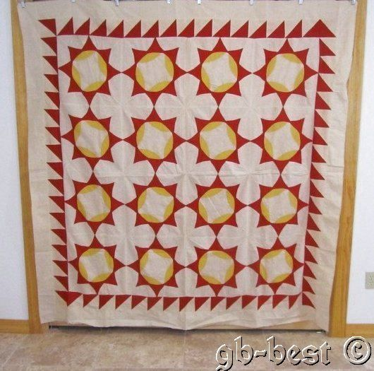 Amazing 1900s Touching Stars Antique Quilt Top Sawtooth Red Yellow 78 x 75 Prim | eBay