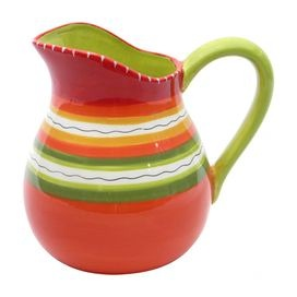 """Ceramic pitcher hand-painted with a Southwestern stripe motif.   Product: PitcherConstruction Material: CeramicColor: MultiFeatures:  Designed by Nancy GreenHand-painted Dimensions: 9.25"""" H x 10.75"""" W x 10.5"""" DCleaning and Care: Dishwasher and microwave safe"""