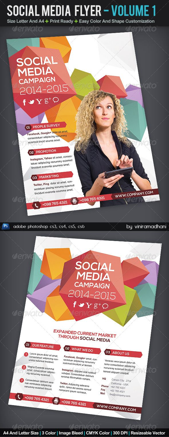 Social Media Flyer | Volume 1 #GraphicRiver Social Media Flyer | Volume 1 Specs : adobe photoshop cs3, cs4, cs5, cs6 Resolution 300 dpi Color CMYK Size Letter And A4 with Image Bleed Photo not incuded on download files Fonts : Arial : Standard Font Nexa Free Font: .fontfabric /nexa-free-font/ Created: 17September13 GraphicsFilesIncluded: PhotoshopPSD Layered: Yes MinimumAdobeCSVersion: CS3 PrintDimensions: 8.5x11 Tags: advertising #banner #clean #conference #consultant #corporate #creative…