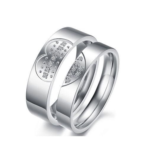 heart stone swarovski titanium wedding ring - Swarovski Wedding Rings