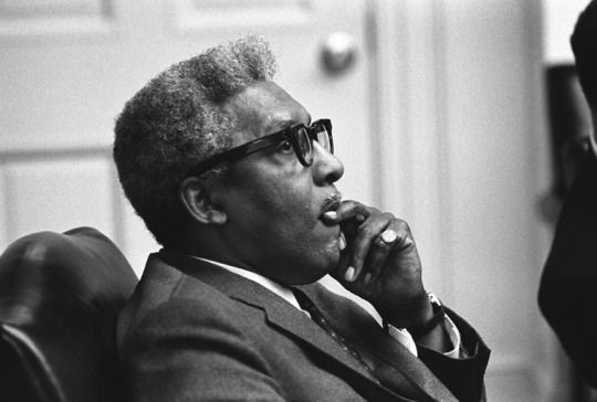 Bayard Rustin was a prolific activist and the success of the March on Washington was credited to his planning. This portrait of Rustin was taken on April 5, 1968, during a meeting between civil rights leaders and President Lyndon B. Johnson after King was assassinated.  His achievements could have made him a household name, but his open homosexuality led organizations to keep him in the background.