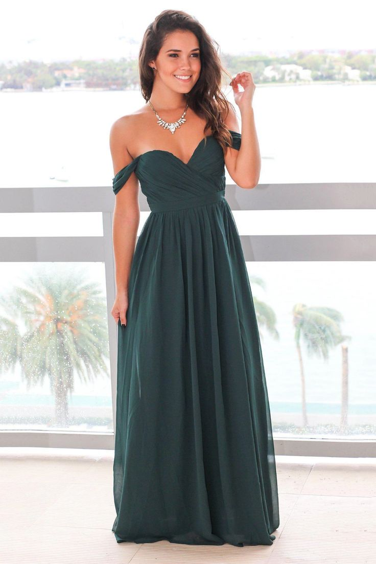 Ruched Off-The-Shoulder Floor-Length Chiffon Formal Evening Dress With Pleats – JoJoBride #wedding #weddinghairstyles #weddingdresses #weddingflower...