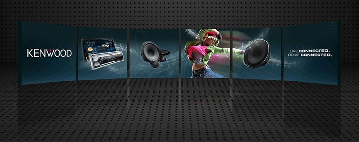 """In preparation for the Las Vegas Consumer Electronics Show, #Kenwood Car Audio challenged us to create a fresh #tradeshow booth header panel capable of catching and holding the attention of #convention goers. Focusing on the sense of freedom and fluidity promoted by the """"Live Connected. Drive Connected."""" Kenwood ideal, we harnessed our creative energy and delivered an eye-catching yet elegant result. #evokad"""