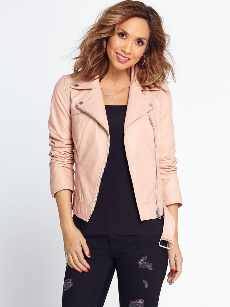 Myleene Klass Leather Jacket Putting her own feminine spin on a classic, this blush leather jacket by Myleene Klass is perfect for brightening up your denim edit this season. With multiple zip deets and a belt to the hem, this asymmetric fastening jacket has plenty of biker-inspired edge too!Wear yours like Myleene, over a slim fit top with black ripped skinny jeans and heels. Perfect!Coats & Jackets Style: Leather