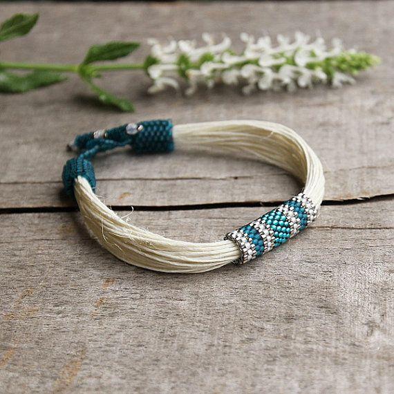Teal summer beaded bracelet white linen bracelet by Naryajewelry, $30.00