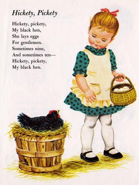Counting Rhymes illustrated by Sharon Kane.  Hickety, Pickety, My Black Hen