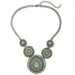 Blauwe halsketting met parels en strass