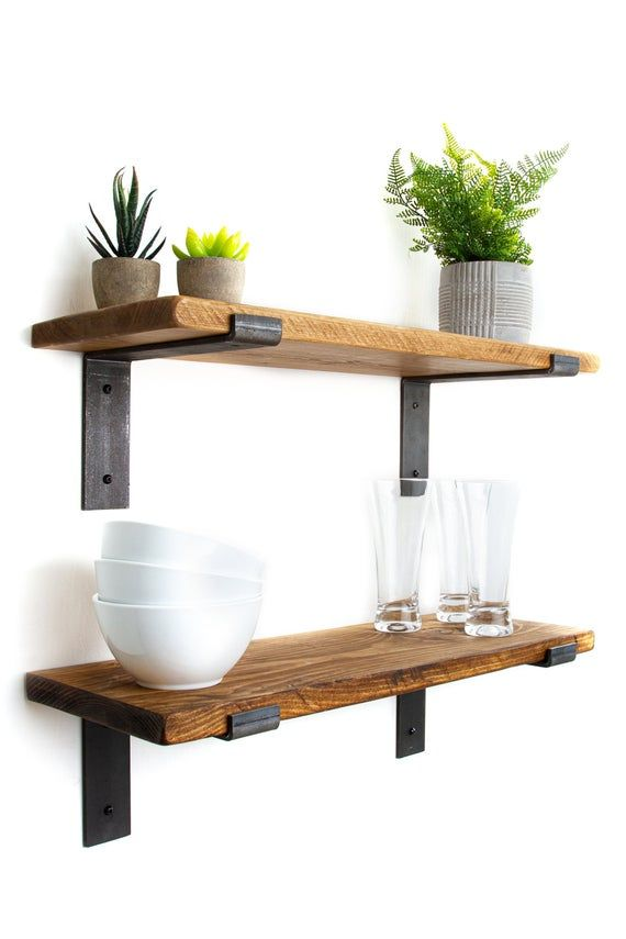 Rustic Shelves Handmade From Solid Wood Comes With 2 Etsy In 2020 Rustic Shelves Wood Wall Shelf Shelves