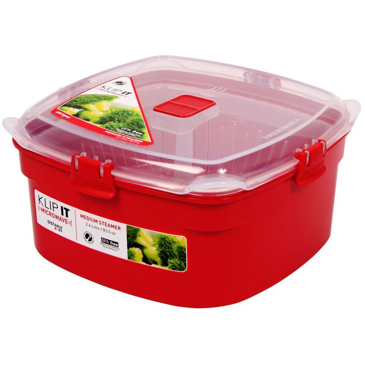 Sistema 1102 Medium Red Rectangular Klip It Microwave Steamer (Microwave Steamer) (Plastic)