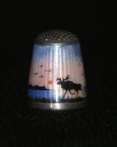 20th century Norwegian sterling silver thimble with guilloché enamelling.