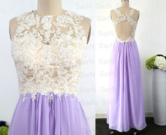 Lavender Long Lace Prom Dresses Chiffon Long Formal by SarNDresses