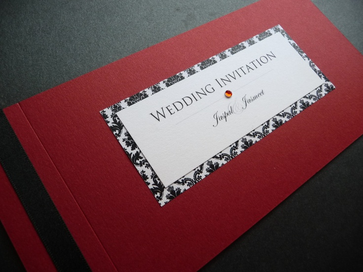 Striking Black Red White Damask Themed Cheque Book Style Wedding Invitations