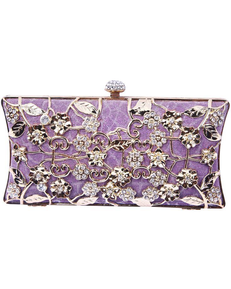 Purple Metallic Magnetic Diamond Flowers Clutch Bag