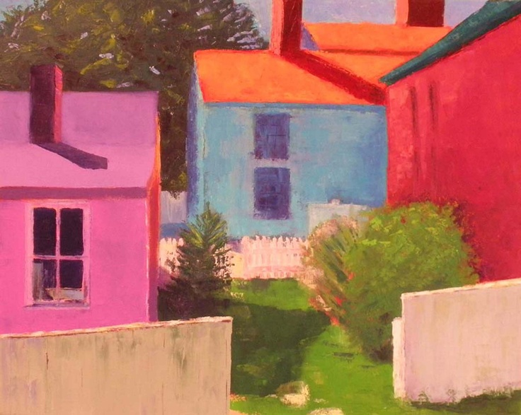 """""""Painted Houses"""", Strawbery Banke, Portsmouth, NH  Oil on Canvas, 2009, by Heather Karp"""
