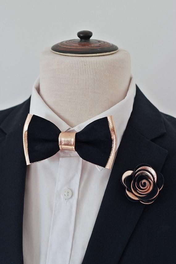 Navy Blue And Gold Mens Leather Bow Tie For Men Gold Wedding Etsy In 2020 Leather Bow Tie Bow Tie Wedding Mens Bow Ties