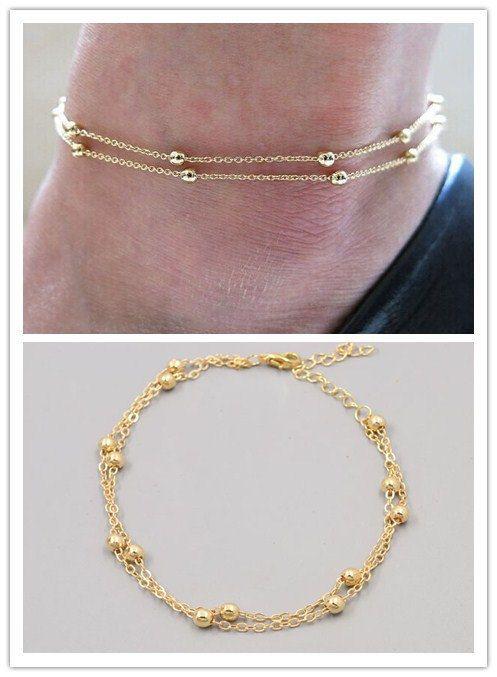 Gold Bead Anklet, Minimalist Jewelry, Beaded Anklet, Dainty Anklets, Gold Anklets, Delicate Beaded Gold Anklet, Delicate Jewelry by mylittledainty on Etsy