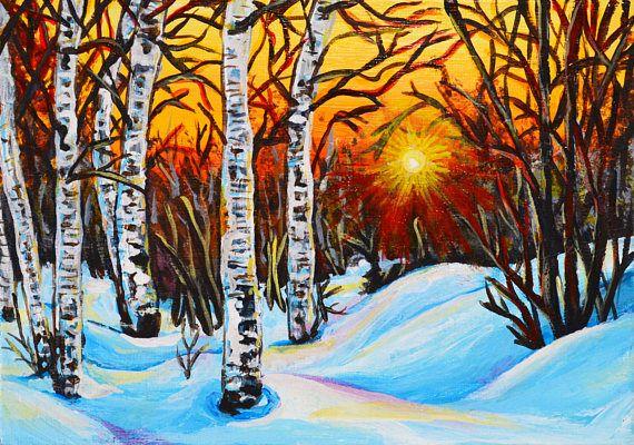 Winter sunset acrylic landscape painting Landscape 5