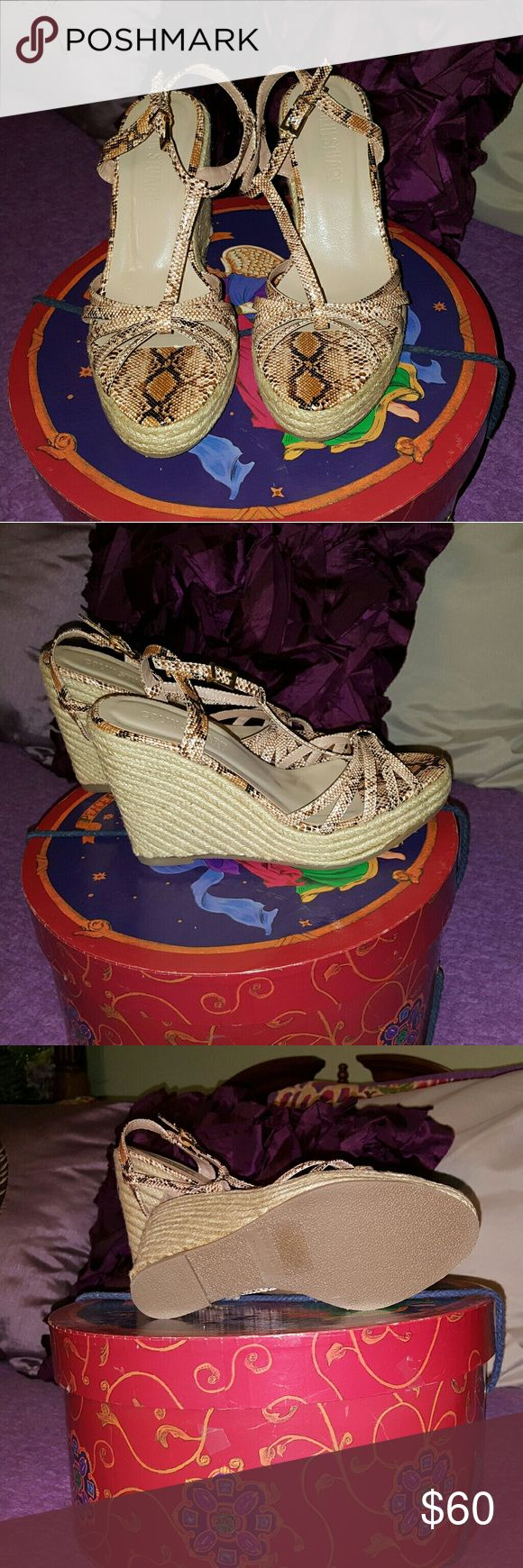 Colin Stuart Snake Print wedge heels Snake Print Colin Stuart wedge heels. Never worn. No box. Size 6.5 Colin Stuart Shoes Wedges