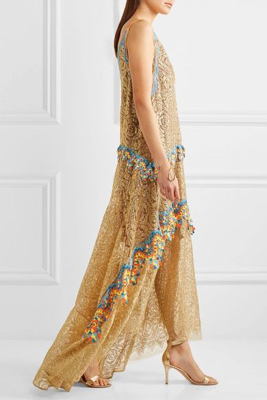 Peter Pilotto   Crochet-trimmed metallic lace gown   NET-A-PORTER.COM