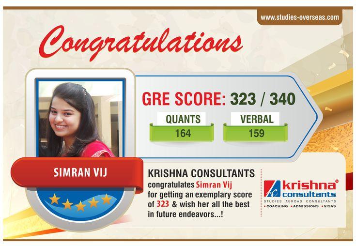 Our GRE Top Scorer - Simran Vij - GRE Score (323/340)