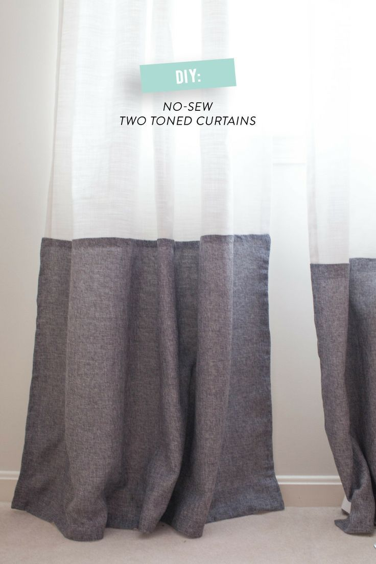 DIY No-Sew Two-Tone Curtains