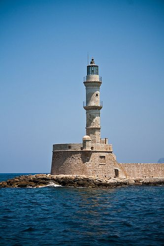 Lighthouse in Chania harbour.