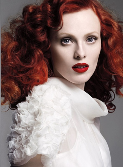 ... heat wave! soft, bouncy waves in flaming red.