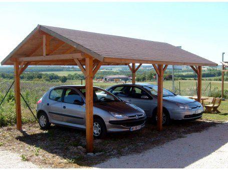 Carport 2 voitures en bois double pente KALKUTTA 30.73m² Avec montage