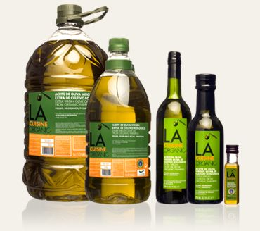 LA Organic Cuisine - extra virgin olive oil from Ronda, Spain. Spanish olive oil is best. Brand identity created by Philippe Starck.