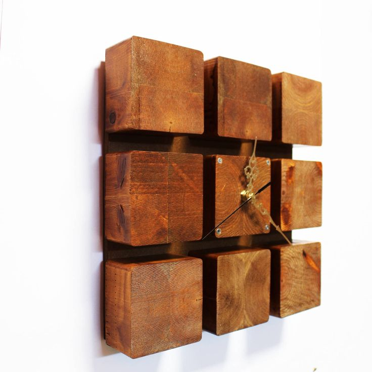 """Handmade Wooden wall clock """" Cube """" Valentine's day gift, gift for wife, gift for husband http://etsy.me/2nFtNAW #housewares #clock #entryway #wallclock #cube #woodcube #decorforhouse #decorforwall #clockforwall #Decor #House"""