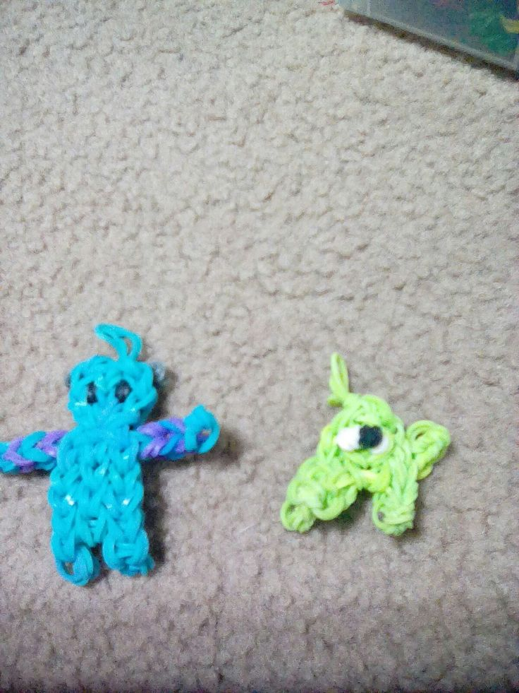 This is my own original design!!!!! I am starting a characters rainbow loom charm series. Say hello to Mike and Sully from Monster's Inc!!!