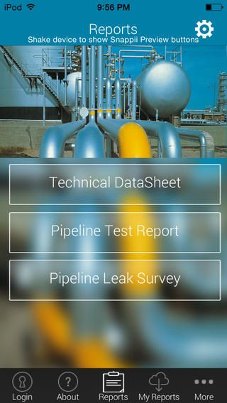 Pipeline inspectors! Finally there is an app to conduct pipeline inspections without having to drag your laptop and camera. Instantly create pipeline inspections with any mobile device. - Capture lots of pictures - Create leak reports, technical datasheets, test reports, save them on your device and email them as PDFs or Excel spreadsheets if needed. - visualize all inspections on a single map  https://itunes.apple.com/app/id710578930  http://bit.ly/QkoFyI