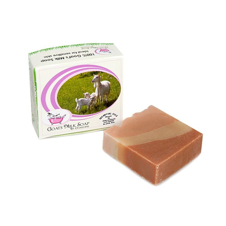 Goat's Milk Soap with Rose and Geranium. White, red and pink clay with goats' milk and Rose and Geranium essential oils. Creamy and smells divine!