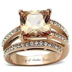 A Perfect 14K Rose Gold 4CT Princess Cut Champagne Lab Diamond Ring - Joy of London Jewels