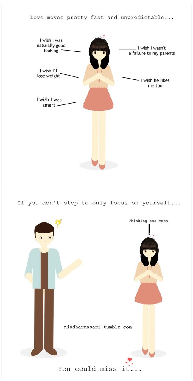 Cute Doodles — Love means…stop to only focus on yourself (^▽^)