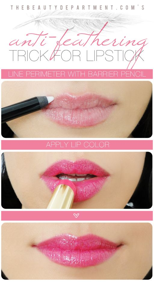 TBD Anti Feathering Trick... Drug Store versions, L'oreal and Maybelline both make clear lip pencils, apparently hard to find though. Laura Mercier makes one as well.