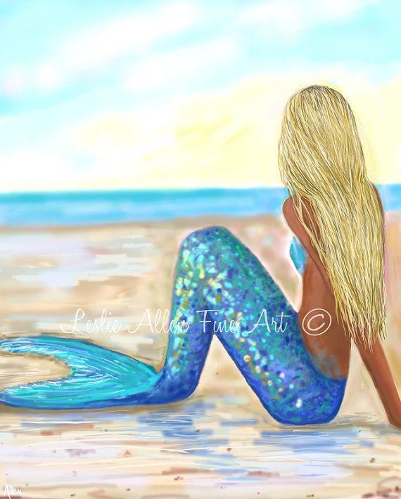 Mermaid Art Mermaid Art Print Mermaid Wall by LeslieAllenFineArt