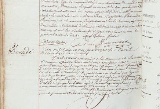 Acte de décès du marquis de Sade, † 02/12/1814 à Saint-Maurice.
