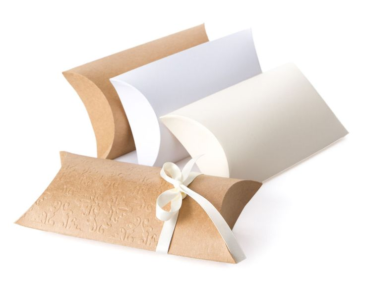 2 x Geschenkbox Kissenboxen Pillow Box Schachtel 18 x 9,5 cm / weiß-creme-braun